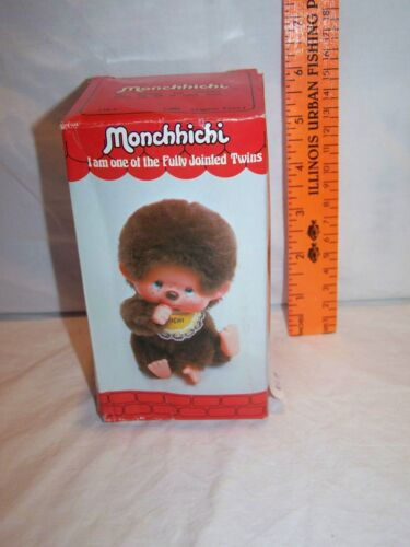 Vintage Monchhichi Sekiguchi Japan Girl Stuffed Animal With Box NEW 1974