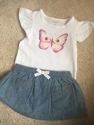 NWT- Carter's 6M Butterfly T-Shirt and Skort Set