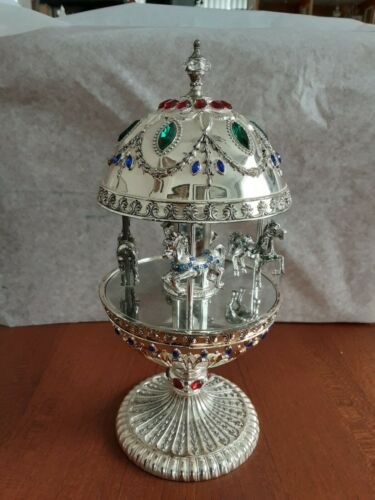 2002 Wallace Music Box, Carousel Egg, Silver Plated Merry Go Round Rhinestones