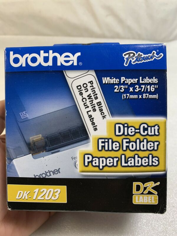 "BROTHER DK-1203 File Folder Label QL-500 QL-550 Die-Cut Roll 2/3"" x 3-7/16"