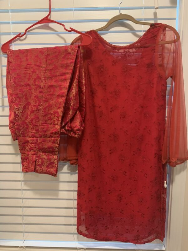 Pakistani Designer Bareeze Red Top Jamawer Pants Size Small