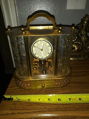 "Vintage Music Box with 8 Day ""SCHMID"" German Mantel Clock Brass & Glass"