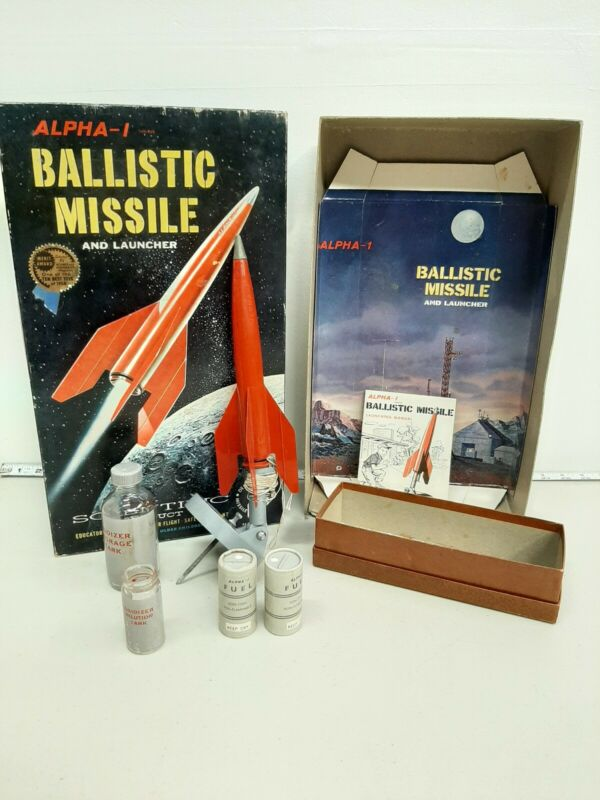 Vintage Alpha-1 Ballistic Missile and Launcher 1958 Boxed Stock #E930