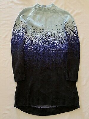 Ivivva by Lululemon Girl's Warm Me Up Sweater Dress Black Blue Ombre Size 14
