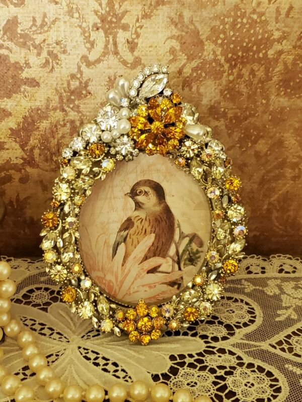 Vintage Jeweled Oval Shaped Handmade  OOAK Picture Frame, Rhinestones #893