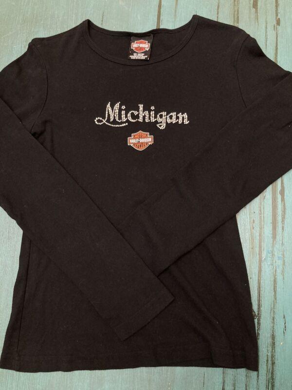 Motown Harley Davidson Womens Longsleeve Tshirt Large Detroit MI