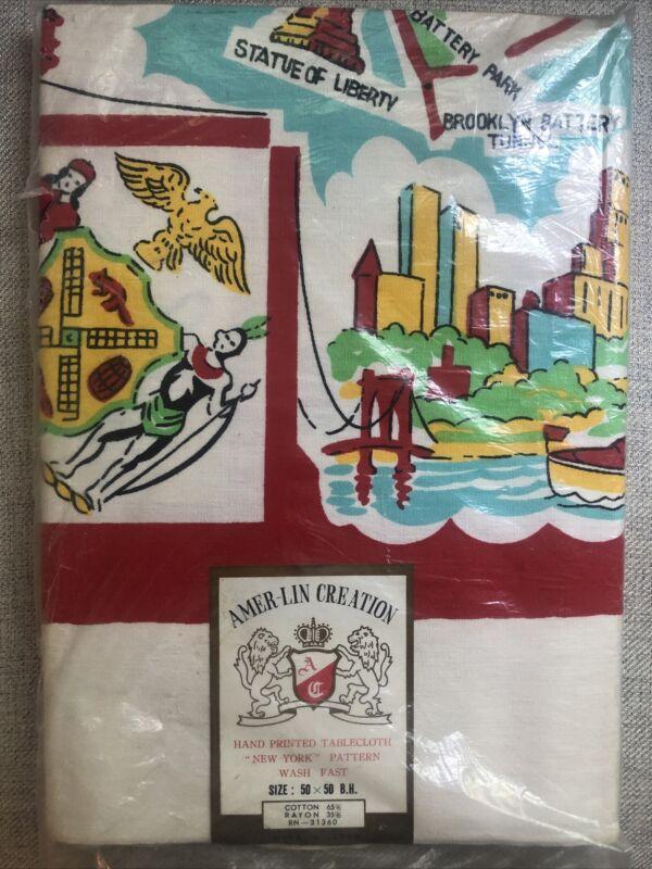 "NOS! Sealed! MCM New York City Landmark Tablecloth Bright Colors 50""x50"" NICE!"