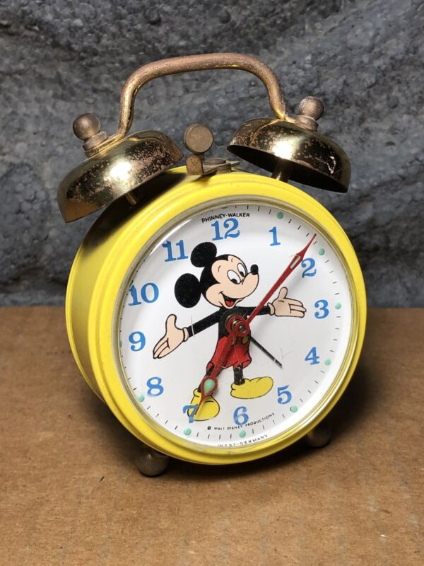 Vintage Mickey Mouse Alarm Clock | Phinney-Walker | West Germany | Good