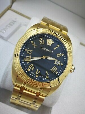 Versace V-Sport Luxury Black Gold Plated SS Swiss Watch VFE160017 1Yr Warranty