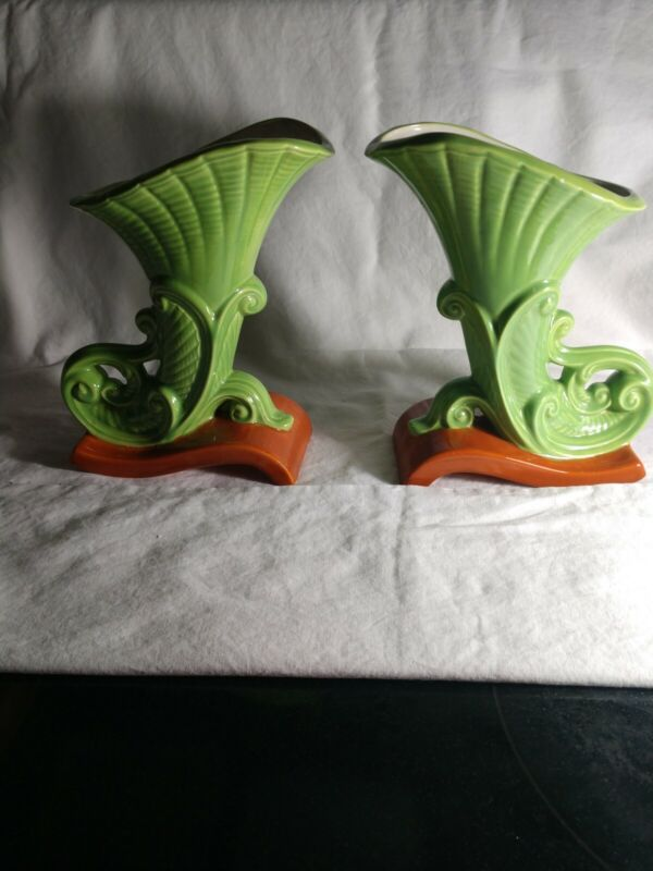 2 Vintage Horn Of Plenty Ceramic