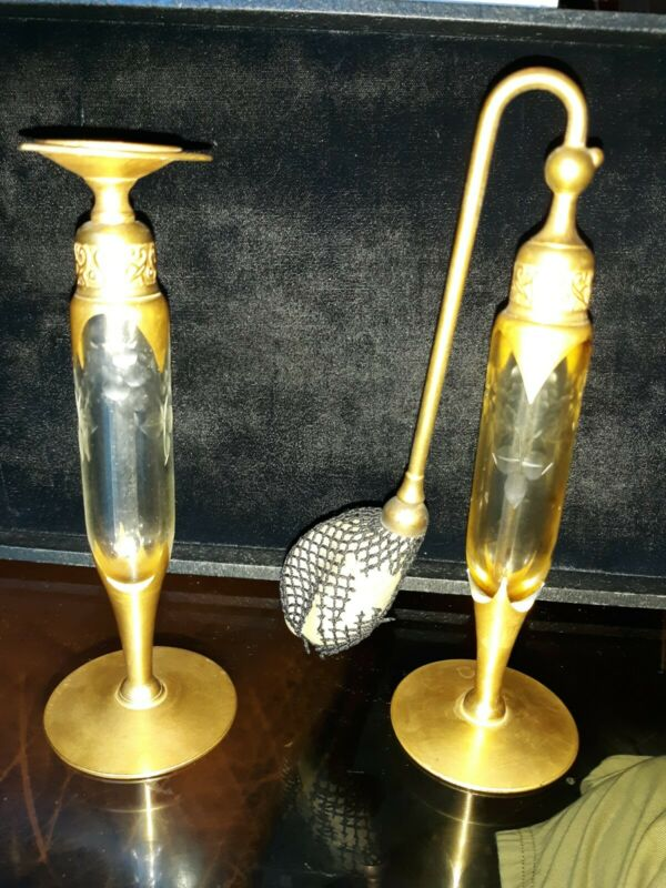 Art Deco DeVilbiss Acid Etched Atomizer And Perfume Bottle Matching Set signed