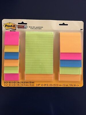Post-it Notes Super Sticky Rio De Janeiro Collection Assorted Pads 585 Total