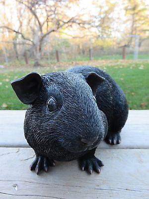 GUINEA PIG FIGURINE 9.25 IN.animal resin box fake straw PET Black Fur New