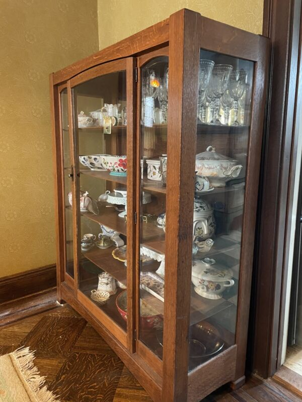 Tiger Oak China Cabinet