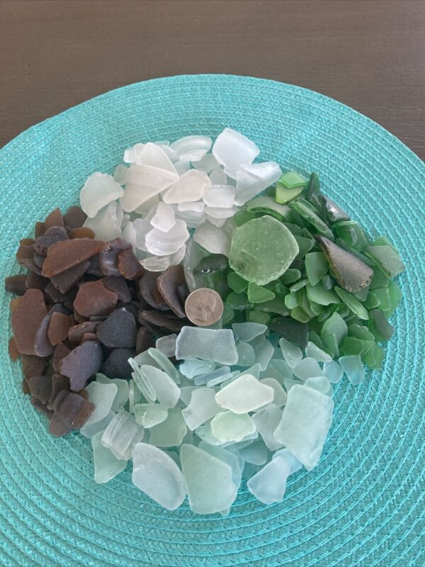 2 Pounds Genuine Surf Tumbled Sea Glass Shards - White, Aqua, Brown and Green