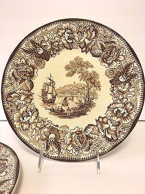 "Set/2 Royal Staffordshire A.H. Wilkinson Safe Harbour Brown 10"" Plates England"
