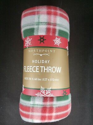 "Northpoint Holiday Fleece Throw Blanket 50"" X 60"" NEW Red / Green Plaid"