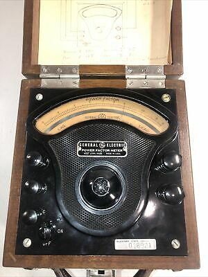 General Electric Power Factor Meter Used In Wooden Case