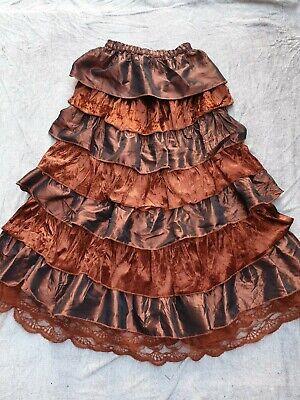 Victorian Velvet Taffeta Lace layered Skirt Boho Gypsy Goth Steampunk Brulesque