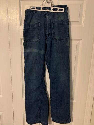 Vintage U.S Navy Ship Blue Denim Dungarees Seafarer Work Jeans Pants 29X31 1970S