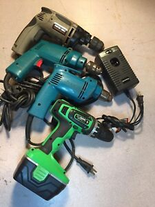 4 Drill set. 1 cordless, 3 corded.