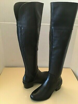 Vince Camuto Bendra womens black leather over the knee boots Size 5.5 medium