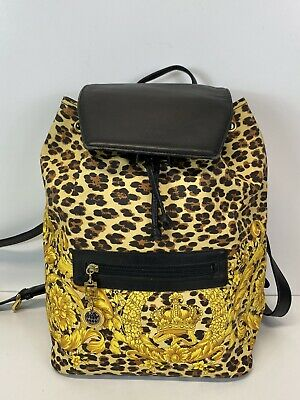 Rare Vtg Gianni Versace Yellow Baroque Leopard Backpack