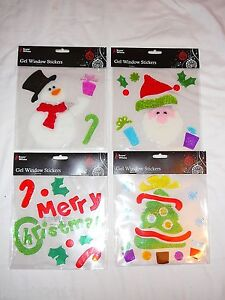 CHRISTMAS-GEL-WINDOW-STICKERS-SNOWMAN-SANTA-TREE-CUTE-FESTIVE-DECORATIONS