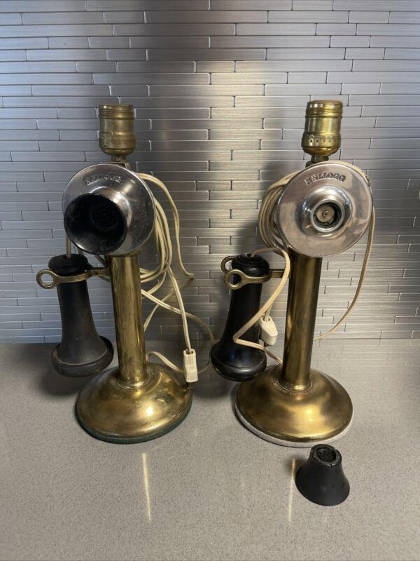 Antique Pair Western Electric Kellogg Brass Candlestick Phone Lamp Conversion