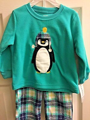 Carters 2 Piece Plaid Penguin Fleece Pajama Set Baby Size 18 Month New NWT Green