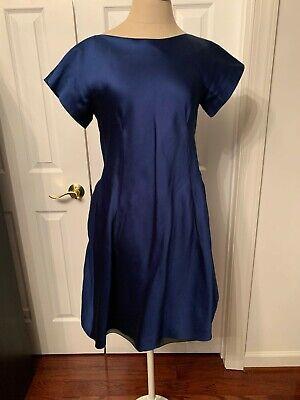 ALBERTA FERRETTI BLUE Flared Silk Dress size S