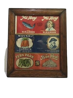 Rare Vintage 1930 -40's 3 EA.Genuen Tin Can Framed American Label.