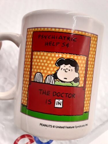 Vintage Peanuts Mug Lucy Psychiatric Help 5 Cents The Doctor Is In Ceramic