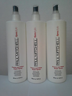 3 x PAUL MITCHELL Firm Style Freeze and Shine Super Spray Finishing Spray 500ml