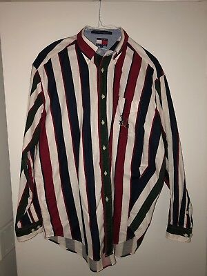 Vintage Tommy Hilfiger Long Sleeve Medium Colorblock Shirt TH Oars Crew Yacht