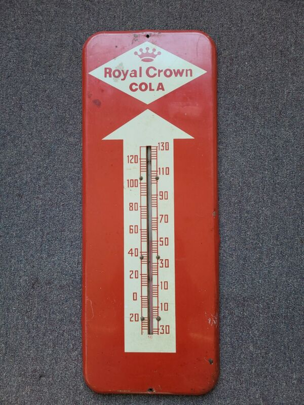 1958 Vintage ROYAL CROWN COLA Thermometer OLD Sign Advertising Soda Pop RC COLA