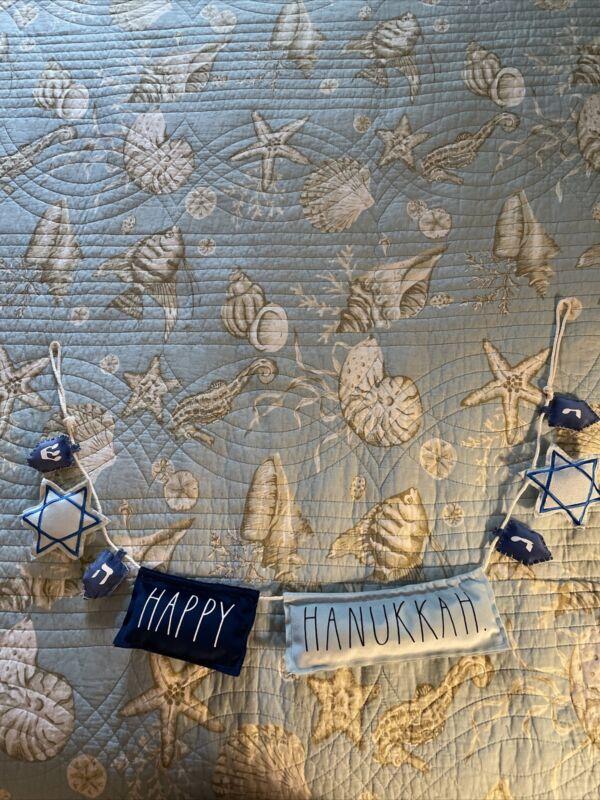 "Felt Garland with Menorahs and Dreidels Jewish Happy Hanukkah ""39"" New Rae Dunn"