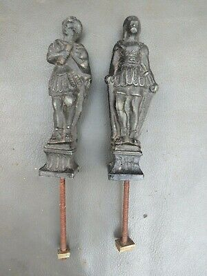 Pair of antique black spelter figures to restore - great for craftwork