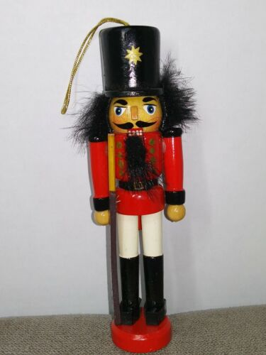 """Mini Nutcracker Toy Soldier Wooden Figure w/ Rifle Red Christmas Decoration 5.5"""""""