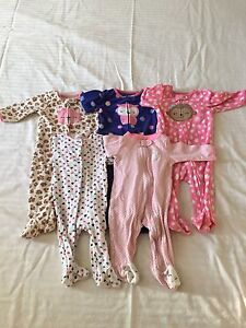 Lot of 5 Child of Mine/Carter's 3-6 Month Girls Sleepers $10