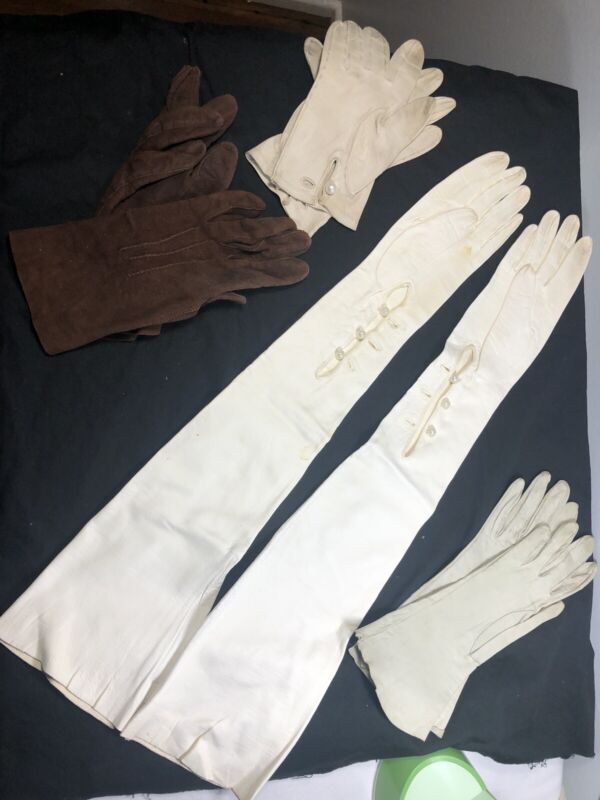 Vintage White Soft Leather Opera Gloves 23 Inches Long & 3 Pearl Accent Sz. 7
