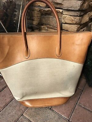 Authentic Gucci Leather  Canvas Large Bag Brown Tan