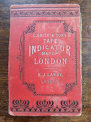1913 Smith Tape Indicator Street Map London Old Antique England Map Plan Index