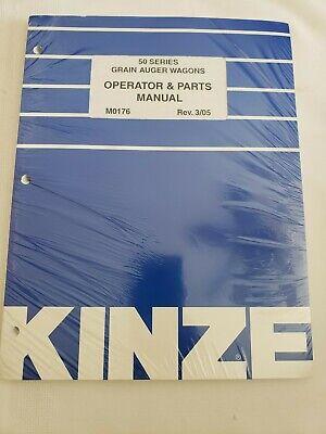 Kinze 50 Series Grain Auger Wagon Operators Manual Parts Catalog