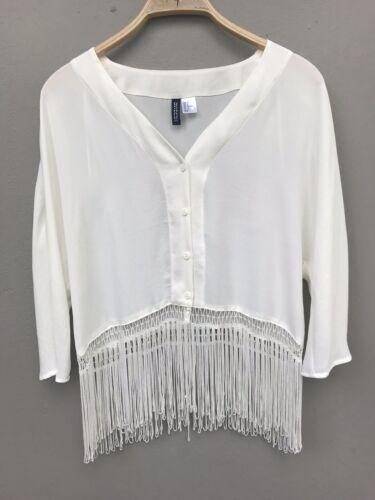 Damen Boho Bluse Mit Fransen In Weiß, Von H&M Divided, Größe 36