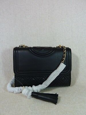 Tory Burch Fleming Convertible Small Leather Shoulder Bag (Black)