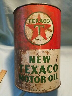 Vintage Early New Texaco Motor Oil 5 Quart Oil Can