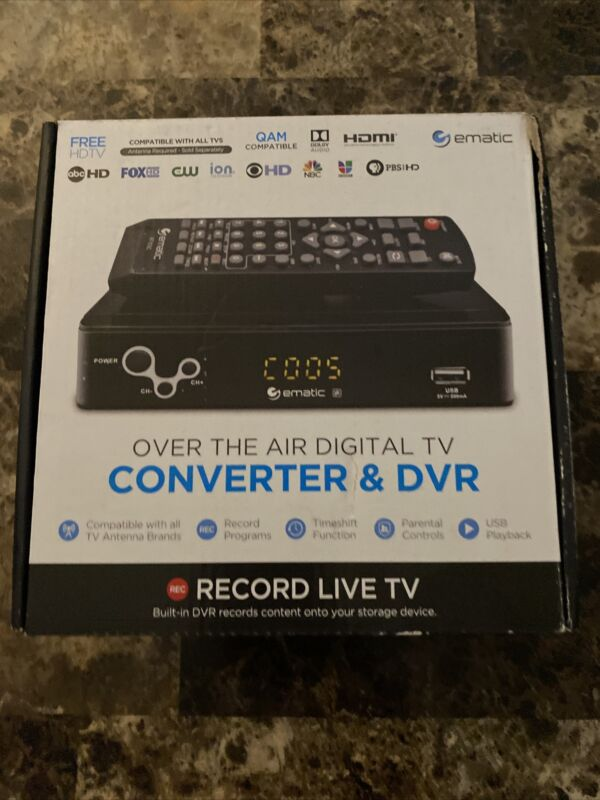Ematic AT103B: Digital Converter Box w/ Recording, Playback, & Parental Control