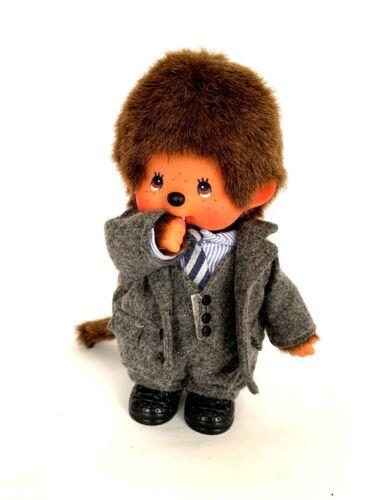 "SEKIGUCHI Monchhichi Plush Stuffed Doll Boy 8"" Gray Flannel Suit & Tie"