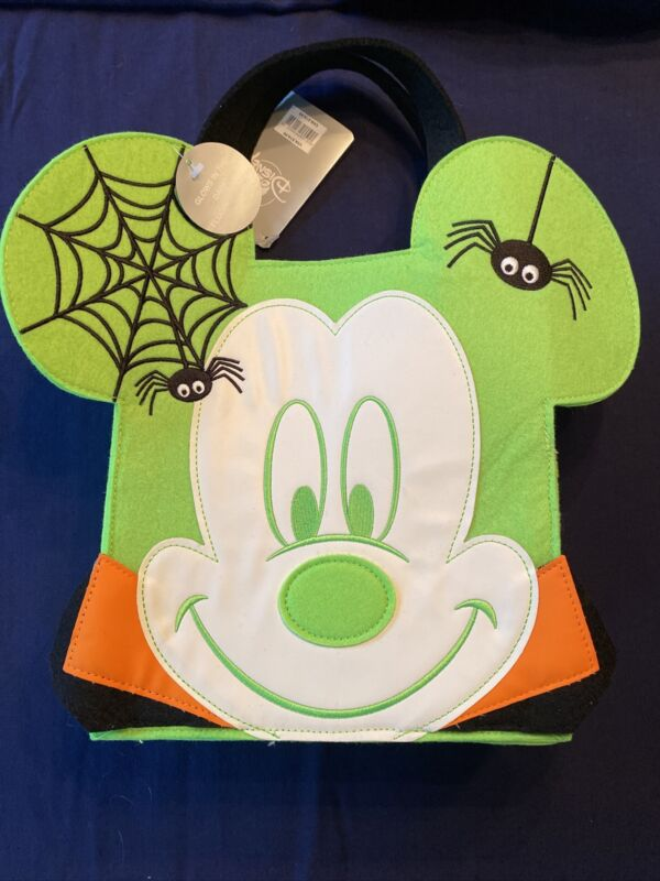 Disney Mickey Mouse Green Halloween Candy Glow Trick or Treat Reusable Tote Bag
